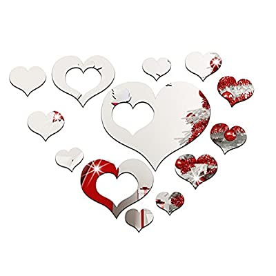 Zehui Romantic DIY Art 3D Acrylic Love Heart Wall Sticker, 1 Set of 15pcs Hearts Wedding decoration Mural Wallpaper For Living Room Bedroom, Removable Mirror Wall Decals