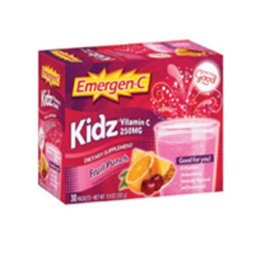 Alacer Emergen-C Kidz, Fruit Punch, 30 Packet, 2 Pack (C Children Emergen)