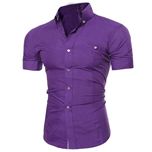 Realdo Mens Shirt, Summer Casual Solid Short Sleeve Button Down T-Shirt Top Blouse(Purple,Large)