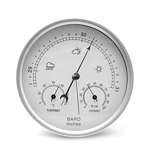 - AMTAST Dial Type Barometer Thermometer Hygrometer Weather Station Barometric Pressure Temperature Humidity Measures Simplicity Easy Reading Display (Imperial)