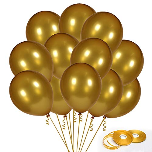 95Pack Gold Balloons, 12Inch Gold Latex Balloons Premium Helium Quality Gold Color Balloons for Party Supplies and Decorations(with Gold Ribbon) from Y wang