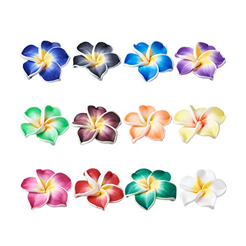 Pandahall 100-pieces Handmade Polymer Clay 3D Flower Plumeria Beads Floral Spacer Charms Jewelry Making Mixed Color Collection 30x11mm