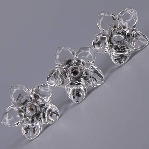 Kasuki 5PCS Clear acrylic flower shape furniture knobs 43mm crystal drawer dresser cupboard knobs pulls handles