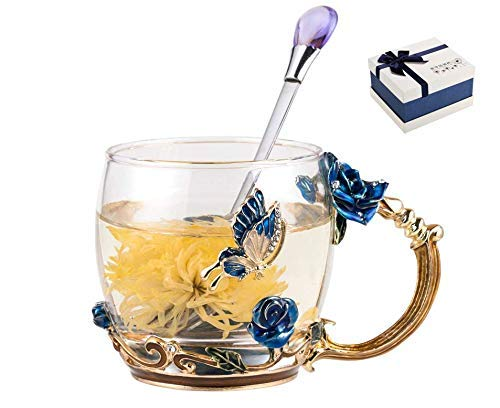 Do4U Enamel Glass Mug Lead Free Handmade Tea Mug Glass Coffee Cup Unusual Unique Thoughtful Women Birthday Gift, Mother's Dya Gift for Mom (Blue Rose)