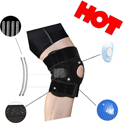Ancocs Adjustable Knee Braces for Women & Men with Side Stabilizers Breathable Neoprene Open Patella Relieves ACL, PCL, LCL, MCL, Meniscus Tear, Arthritis Cap Pain Knee Brace (Black1)