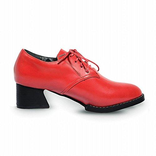 Carol Skor Kvinna Spets-up Mode Casual Komfort Chunky Mellan Häl Oxfords Skor Röd