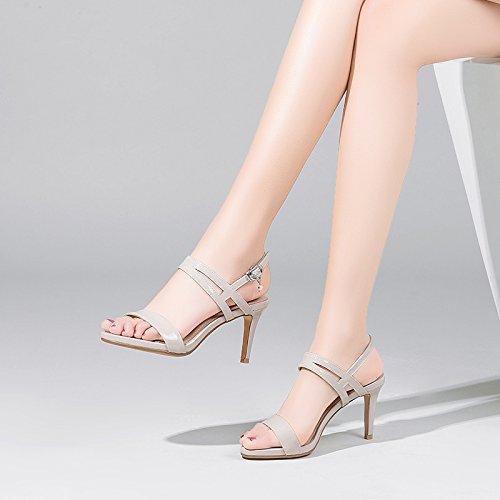 VIVIOO Damen Sandaletten Hochhackige Sandaletten Hochhackige Schößchen Fein Sandaletten Wasserdichte Plateau High Heels Schnalle mit Lackleder Offene Zehen Schuhe Beige 7.5cm