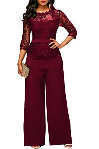 Womens Prison Jumpsuit (Haloon Woman's Off Shoulder Jumpsuit Lace Mesh Rompers Half Sleeve Putfits Wine L)