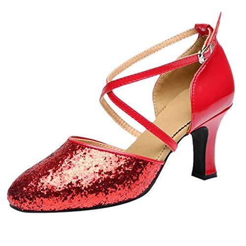Da Sala Ballo Scivolo Anti amp;bambina 7cm Latino Standard Eleganti Rojo Serie Baotou Tacco Sandali 5 5cm Scarpe Paillettes Principessa Donna tq6Ewq
