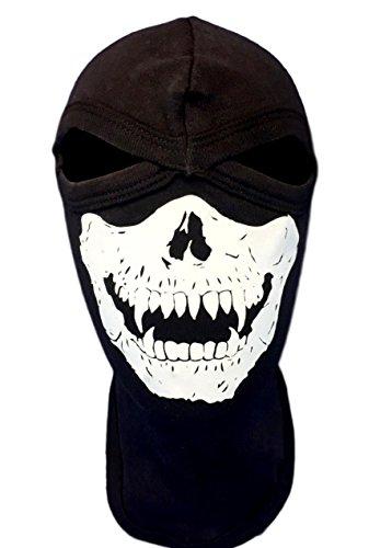 Adult Size Ghost Balaclava With White Vampire Fangs Skull Jawbone Balaclava Mask Ninja Ski Swat Full Face Narrow Eyes Hood -
