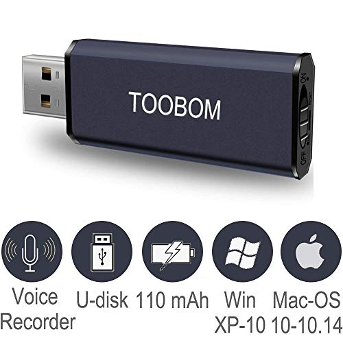 Mini USB Voice Recorder for Lectures,TOOBOM Metal Body 8GB Small USB Digital Audio Recorder Mac Compatible Dictaphone 38 Hours Recording Device,USB Rechargeable (Black)