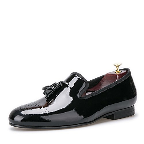HI&HANN Black Patent Leather Men Dress Shoes With Tassel Slip-On Loafer Round Toes Smoking Slipper-15-Black Leather Patent Leather Slippers