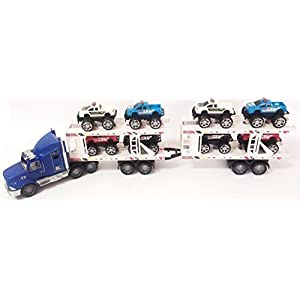 Friction Powered Super Tractor Trailer Auto Carrier With 8 Monster Jeeps Toy For Kids (color may vary)