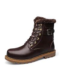 FRYP Otoño e Invierno de Gran tamaño Nuevas Botas Martin Botas de Cuero para Hombre Zapatos de algodón de Alta Capa de Cuero de Capa Superior
