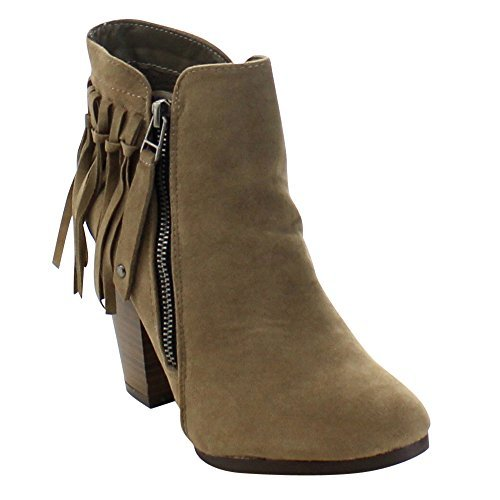 Breckelle's Gail-26 Women's Belted Chunky Stacked Heel Ankle Booties Beige 8