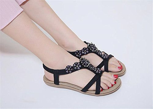 pit4tk Ladies Women Comfortable Genuine Flat Sandals Leather Shoes Black Summer Sandals rnr7RqwY