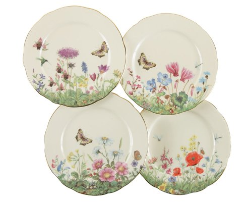 - Gracie Bone China 7-1/2-Inch Dessert Plate, Assorted 4 Designs, Pink Green Meadow, Set of 4