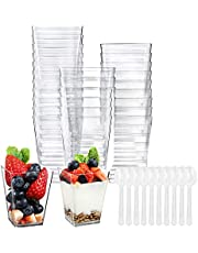 100 Pack 5 Oz Tall Square Clear Plastic Dessert Tumbler Cups with 100 Plastic Spoons - Great for Event and Party