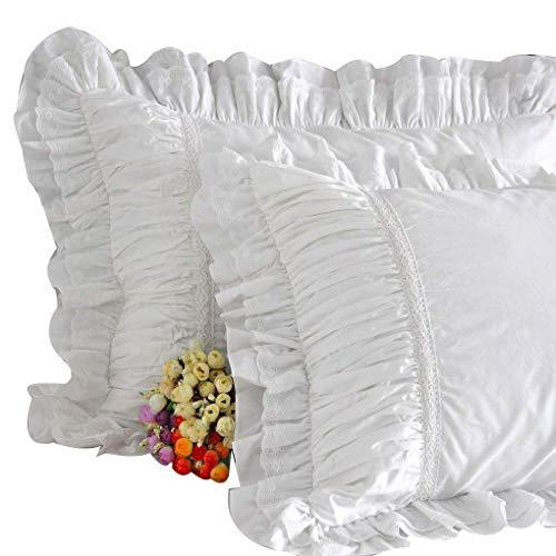 House Sham - Queen's House Luxury Ruffle Pillow Shams White Standard Size Set of 2-R