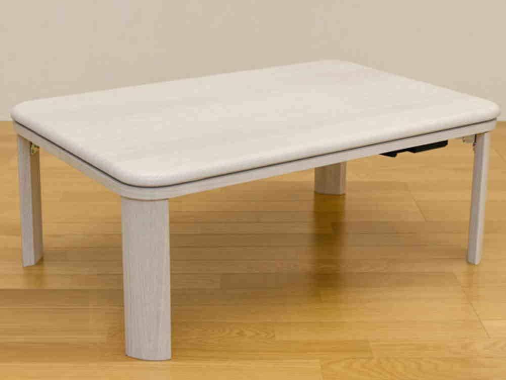 家具調折脚コタツ 長方形 W90xD60*WH*コーナーが丸く、家具調だから年中使用可能   B07KNK51WT