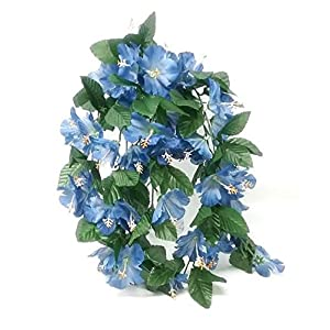 "26"" Hibiscus Hanging Bush Artificial Silk Wedding Bridal Bouquet Flowers 9 Stems 30"