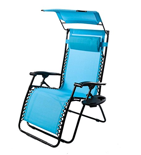 Plow & Hearth Outdoor Deluxe Zero Gravity Chair With Canopy, Adjustable Patio Recliner with Table and Drink Holder, 65 L x 29.5 W x 44 H - Light Blue by Plow & Hearth