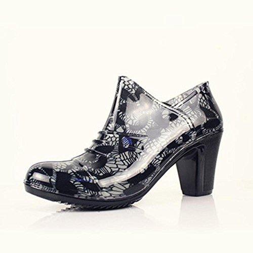 de Y con lluvia baja botas las impermeables zapatos goma lluvia botas 40 con señoras de zapatos amp;JAXIE Áspero alto de cremallera q00rt