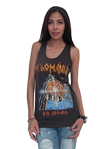 Bunny Brand Women's Def Leppard Pyromania 80's Tour T-Shirt Tank Top Black (Medium)