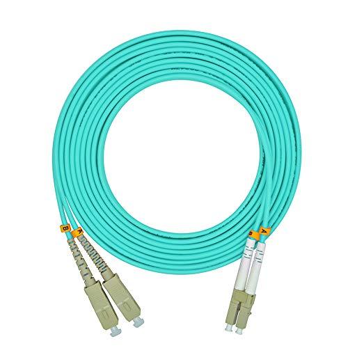 Jeirdus 3Meters 10ft LC to SC Duplex 50/125 10G OM3 Multi-Mode Fiber Optic Cable Jumper Optical Patch Cord LC-SC