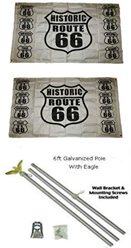 Route Eagle 66 - ALBATROS 3 ft x 5 ft Get Your Kicks Route 66 2ply Flag Galvanized Pole Kit Eagle Top for Home and Parades, Official Party, All Weather Indoors Outdoors