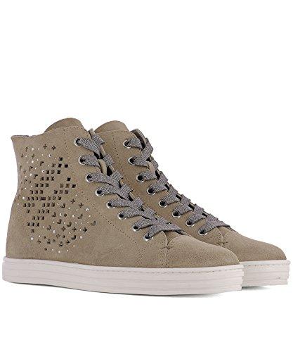 Hogan Rebel Hi Top Sneakers Donna HXW1820X330FFY070J Camoscio Marrone