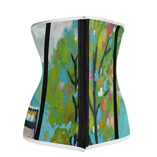Waist Trainer for Women,Eiffel Tower Painting Underbust Corset Slimming Body Shaper Belt/Cincher/Trimmer Weight Loss L