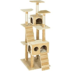 "Best Choice Products Pet Play Palace 73"" Cat Tree Scratcher Condo Furniture, Beige"