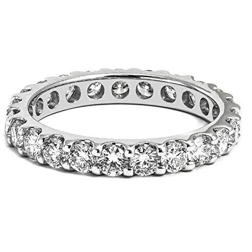14kt White Gold 1.40 CTW Round Cut Diamond Eternity Wedding Band