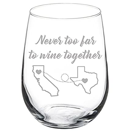 64b6516a99f Amazon.com: Engraved Best Friend Wine Glass Never Too Far To Wine Together  White Red Wine Custom Personalized Long Distance Friendship Gift (Stemless  17 ...