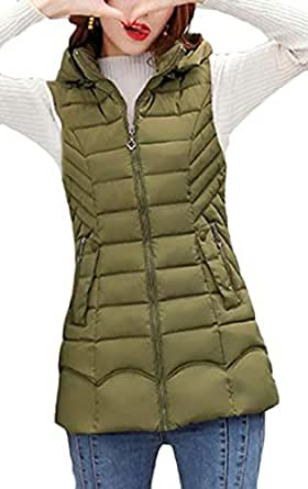 Macondoo Women's Puffer Vest Quilted Hooded Warm Winter Down Vest Coat Army Green XS