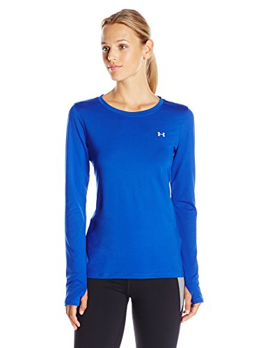 Under Armour HeatGear Armour manga larga de la mujer Royal/Plateado metálico
