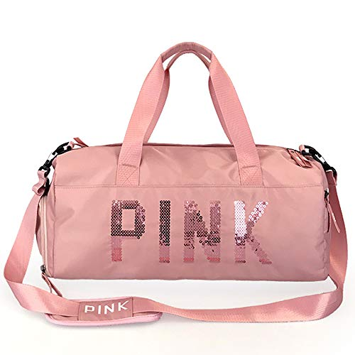 Gym Bag with Wet Pocket & Shoes Compartment Travel Duffel Bag for Men and Women (Pink)