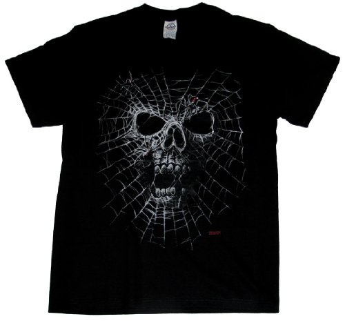 Skull Black Widow Spider Web Adult T-Shirt