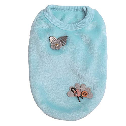 Letdown Pet Winter Vest Dog Puppy Cat Stripes Sweater Soft Comfortable Coats for Teacup Dogs (XS, Blue)