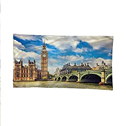 Londonbeach Tapestry Wall hangingdorm Room tapestryBig Ben Clock Tower Spring 93W x 70L Inch