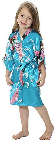 Joytton Girls' Satin Kimono Robe For Spa Party Wedding Birthday (10,Turquoise) (Peacock Baby)