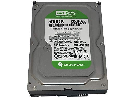 16mb Caviar - Western Digital Caviar Green WD5000AACS 500GB 16MB Cache SATA 3.0Gb/s 3.5in Internal Hard Drive 1 Year Warranty