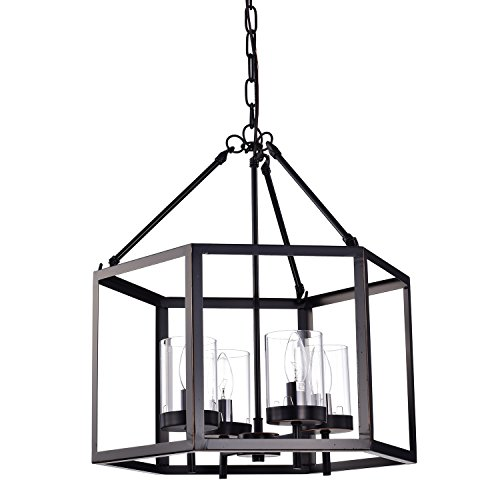 Edvivi 4-Light Oil Rubbed Bronze Hexagon Lantern Cage Chandelier   Modern Farmhouse Lighting