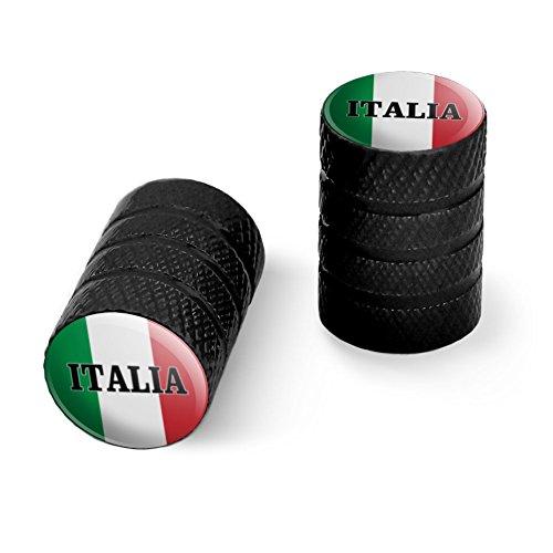 オートバイ自転車バイクタイヤリムホイールアルミバルブステムキャップ - ブラックイタリアイタリアイタリアの旗