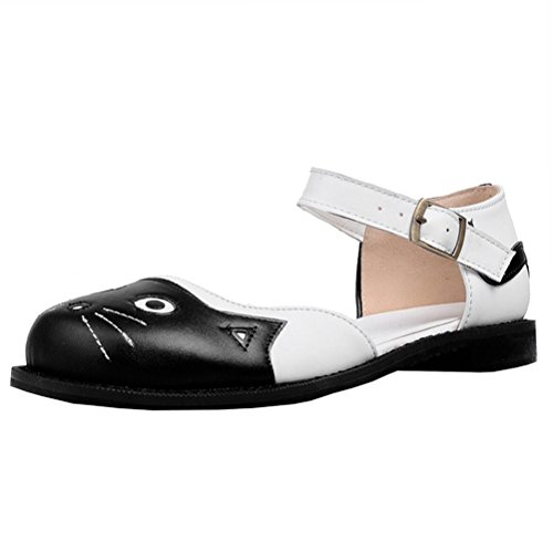 Atyche Women's Flats Mary Janes D'Orsay Shoes Dolly T-Bar Closed Toe Summer Lolita Shoes Black
