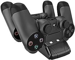 PECHAM Mini cargador para DualShock 4 con LED - Estación de carga USB para mandos de Playstation 4 / PS4 Pro / PS4 Slim