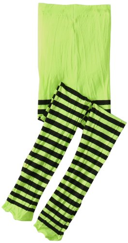 Jefferies Socks Big Girls'  Stripe Tights, Lime/Black, 6-8 Years - Green Stripe Tights