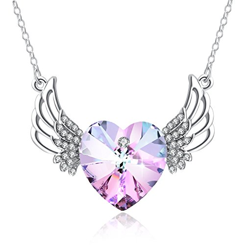 PLATO H ❤Crystals from Swarovski❤ Angel Wing Necklace Love Heart Crystal Guardian Angel Pendant Necklace, Heart Wing Pendant Necklace, Guardian Heart Shape Angel Necklace, Gift Packaging