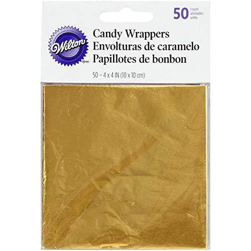 (Wilton Foil Candy Wrappers, 4 by 4-Inch, Gold, 50-Pack)